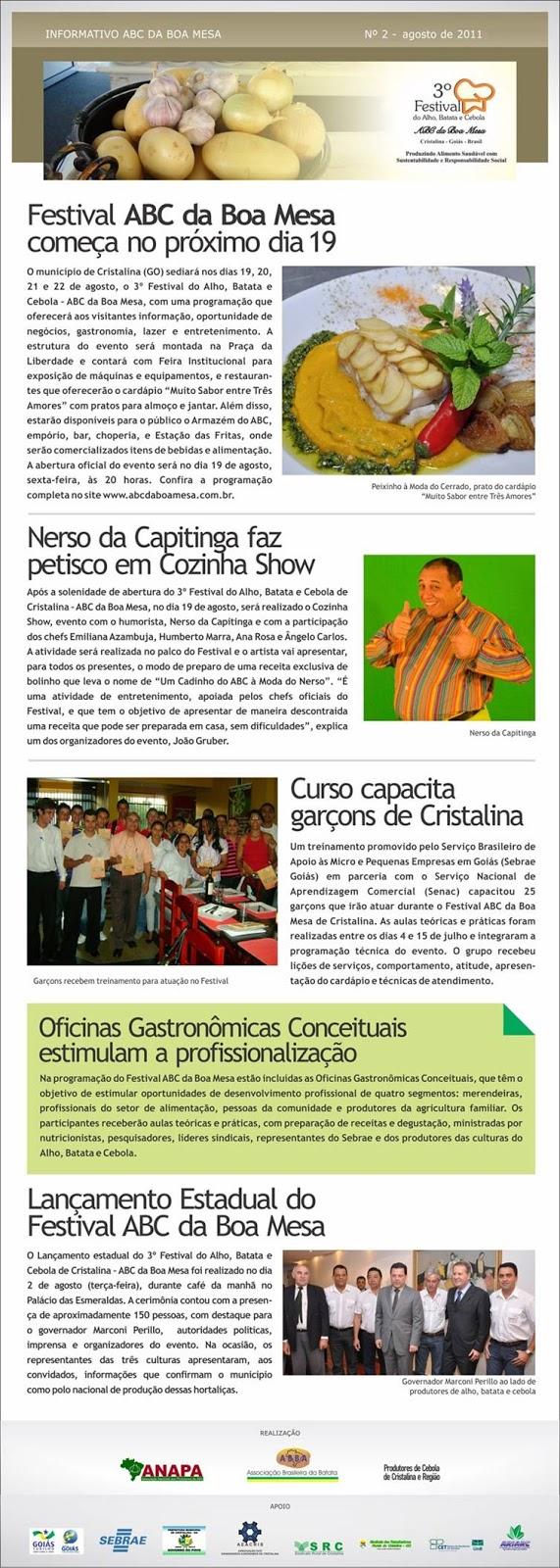 Notícias do Festival ABC da Boa Mesa de Cristalina