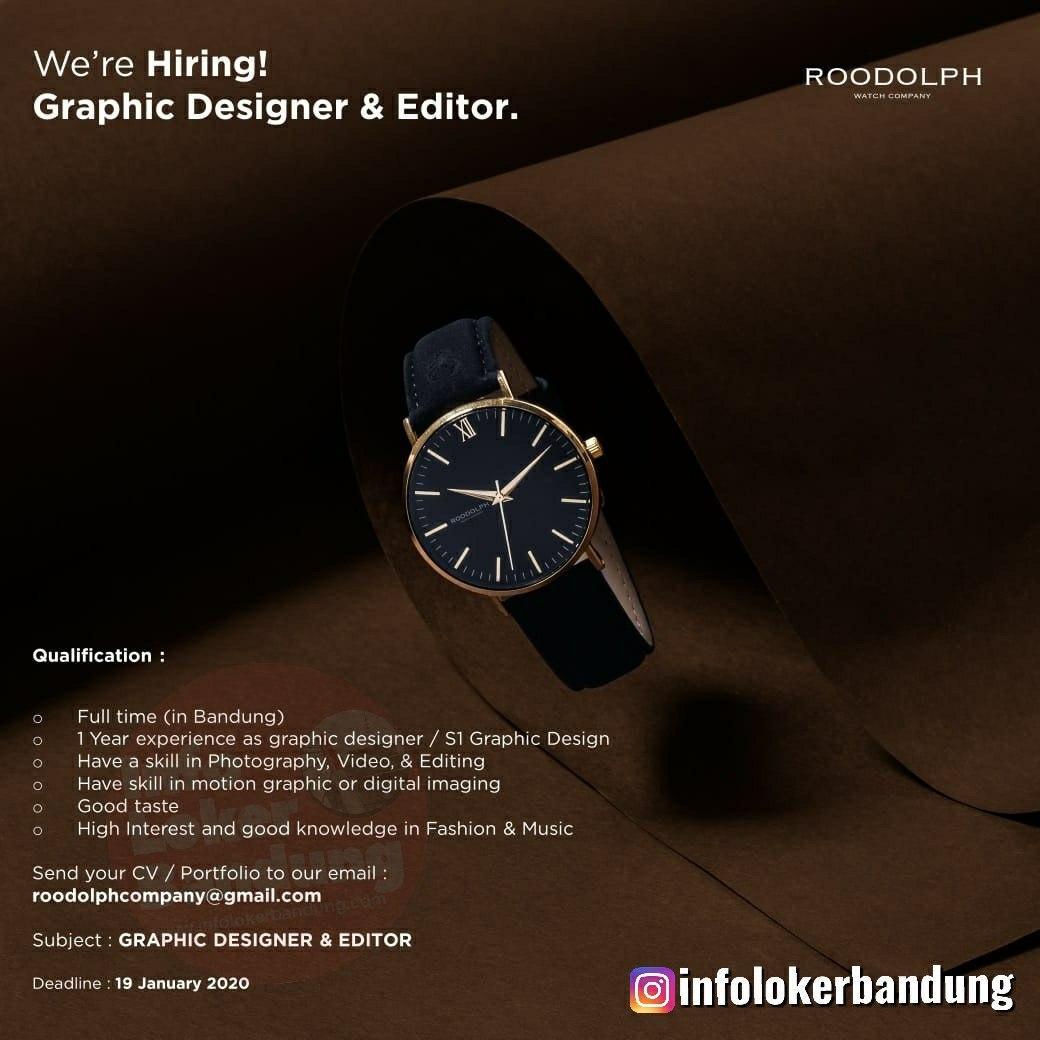 Lowongan Kerja Graphic Designer & Editor PT. Roodolph Detik Abadi Januari 2020