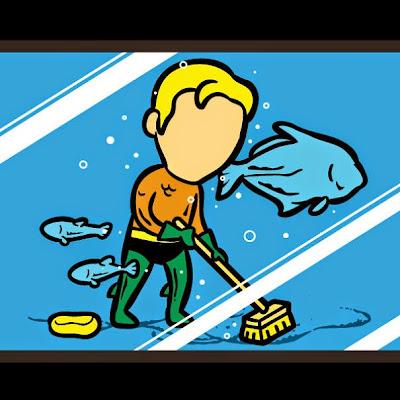 Aquaman trabaja en acuaris limpiando las instalaciones.