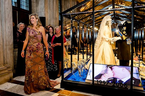 A view of the wedding dress and wedding suit of King Willem-Alexander and Queen Maxima