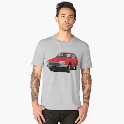 Citroën GS t-paita - punainen auto