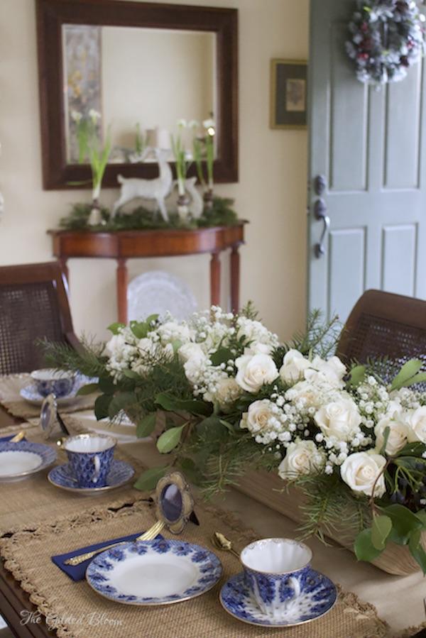 Fresh Flowers Styled in a Long Wooden Bowl- www.gildedbloom.com