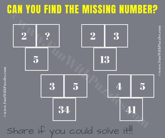 Can you find the Missing Number? If 2+3=13, 3+5=34, 4+5=41 then 2+?=5