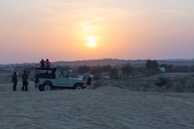 Desert Sunset with Jeep and people in Jodhpur Rajasthan India
