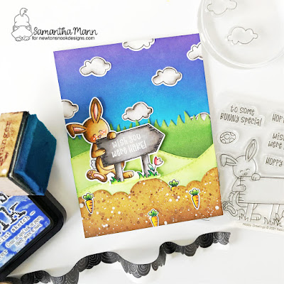 Wish You Were Hare Card by Samantha Mann for Newton's Nook Designs, Bunny, Cards, Cardmaking, Handamde Cards, Distress Inks, Scene, Easter #newtonsnook #distressinks #inkblending #cards
