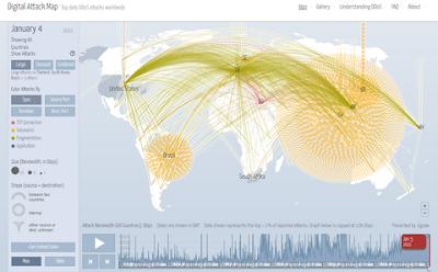 Data digital attack map