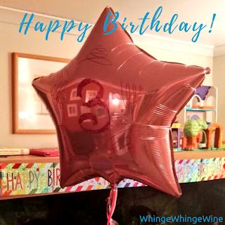 The big one's third birthday balloon