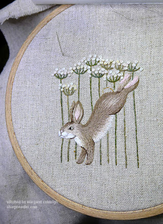 Jenny McWhinney's Queen Anne's Lace Travelling Work Station: Embroidered flowers ended up too big