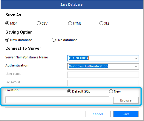 Saving as default New Database