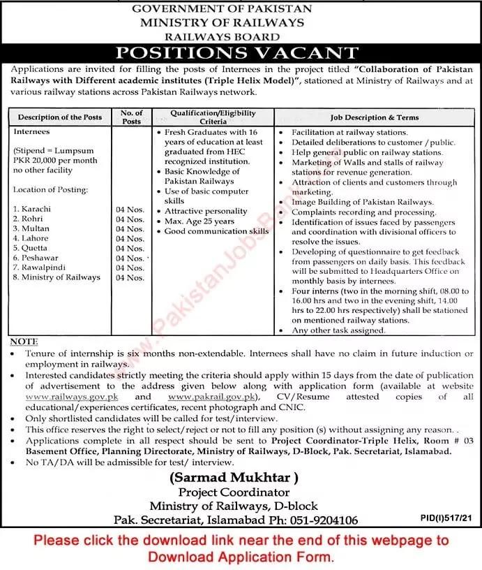 www.pakrail.gov.pk jobs 2021 - Pakistan Railways Internship Program 2021 - www.railways.gov.pk Jobs 2021