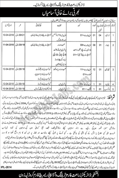 Jobs announced in Karor Layyah Agriculture Forms Training 01 March 2018