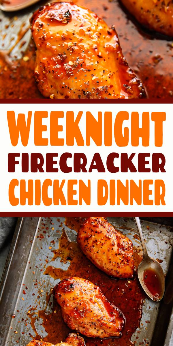 This is the perfect quick and easy weeknight dinner! My recipe for firecracker chicken is easy to make and tastes salty, sweet, and spicy! Serve it over a bed of rice and with lots of firecracker sauce! #dinner #chicken #baked #firecracker #weeknightdinner