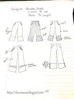 BurdaStyle 07/2018 #120 Pants Design Sketch Ideas on Sharon Sews Blog