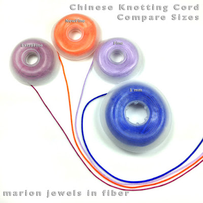 Chinese Knotting Cord - Compare Sizes