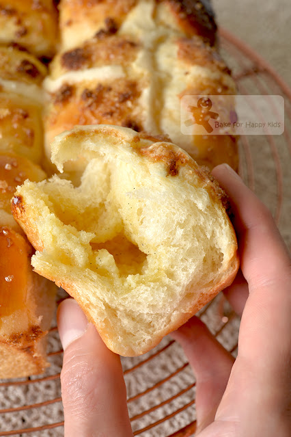 super soft brioche like fluffy hot cross buns with milky butter filling soft on the next day