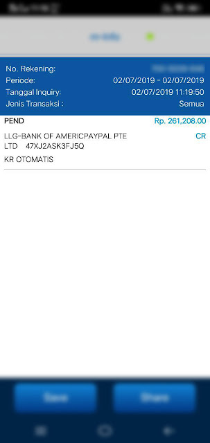Bukti hasil penarikan saldo dari Paypal ke Rekening BCA