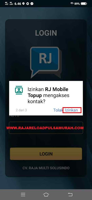 Izinkan RJ Mobile Topup Mengakses Kontak