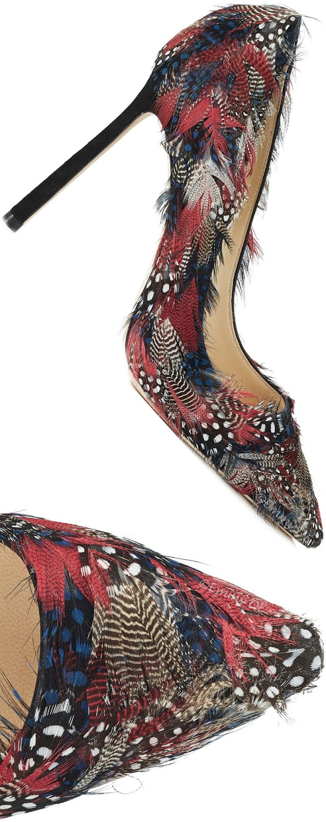 Brilliant Luxury ♦ Jimmy Choo Romy Feather-Embellished Suede Pumps