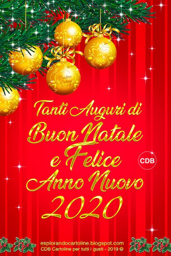 E Buon Natale.Cdb Cartoline Per Tutti I Gusti Tanti Auguri Di Buon Natale E Felice Anno Nuovo 2020 Cartolina Con Immagine Di Sfere Dorate E Stelline Su Sfondo Rosso A Righe Da