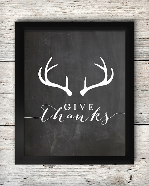 Give Thanks free antler printable