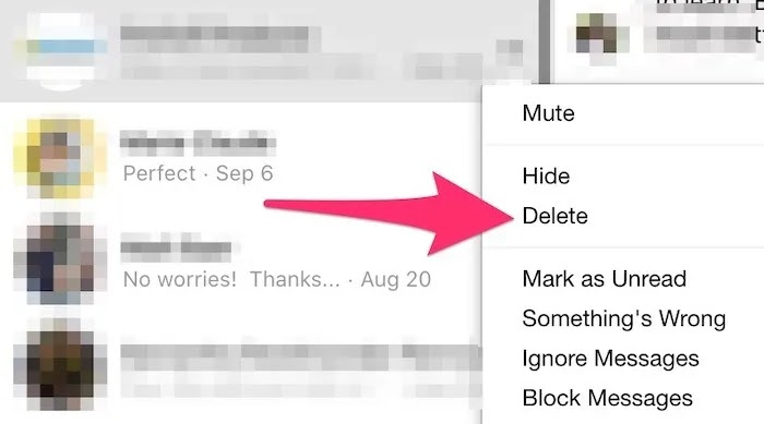 حذف بالجملة حذف Facebook Messenger