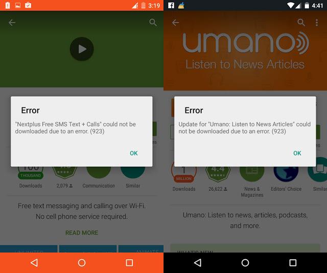Cara Mengatasi Error 923 di Google Play Store