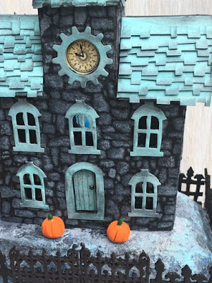 Stone Stenciled Clock House - how to make a paper house at paperglitterglue.com