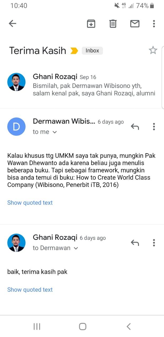 Email pak Dermawan Wibisono