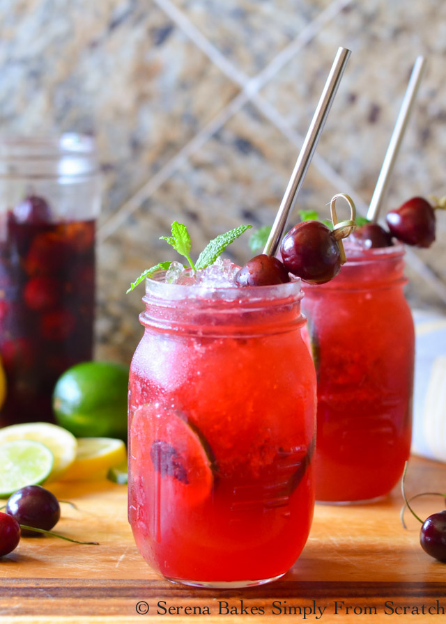 Whiskey Cherry Smash is a favorite slushy cocktail recipe with a virgin option from Serena Bakes Simply From Scratch.