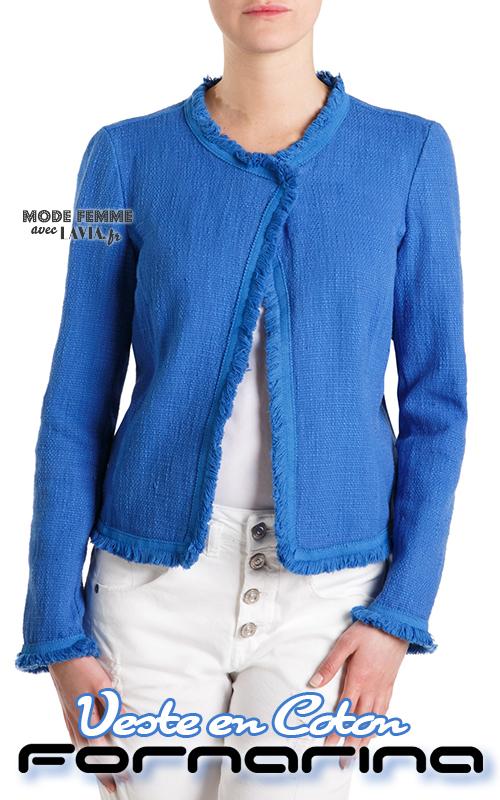 Veste femme à franges courte en coton bleu FORNARINA