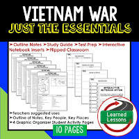 Vietnam War,  American History Outline Notes, American History Test Prep, American History Test Review, American History Study Guide, American History Summer School, American History Unit Reviews, American History Interactive Notebook Inserts