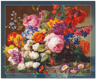 "Download cross stitch scheme NIG001 ""Corbeille de Fleurs"" Scarlet Quince"
