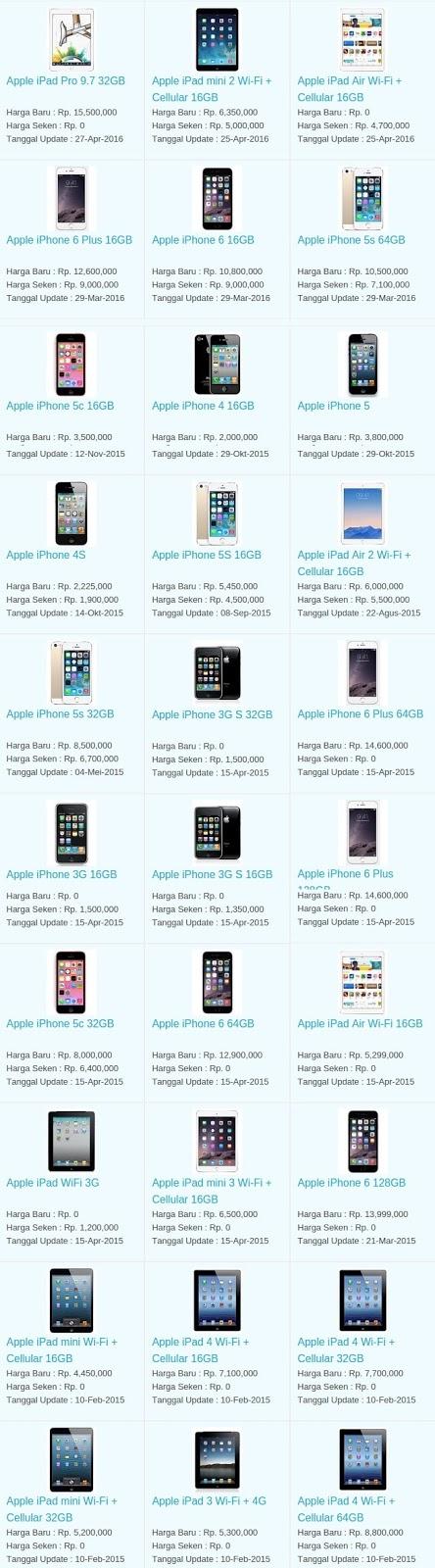 Daftar Harga Hp Terbaru Apple Mei 2016