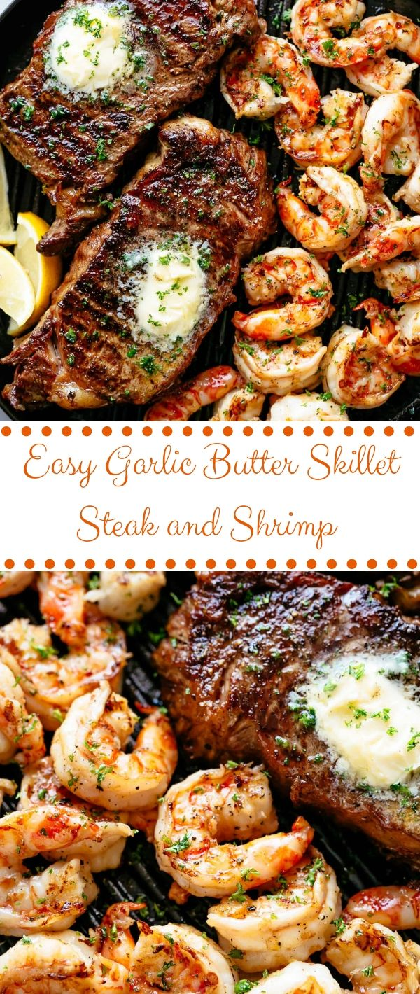 Easy Skillet Garlic Butter Steak and Shrimp #Easy #Skillet #Garlic #Butter #Steak #and #Shrimp Seafood Recipes Healthy, Seafood Recipes For Dinner, Seafood Recipes Easy,