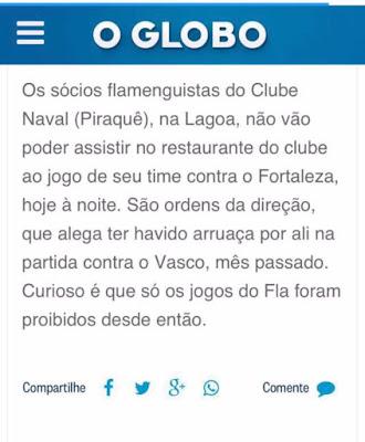 Clube do Rio proíbe torcedores do Flamengo de assistir jogos em seu restaurante