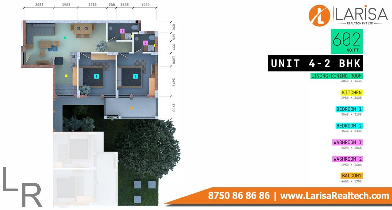 Trisara Our Homes 3  2BHK Floor Plan