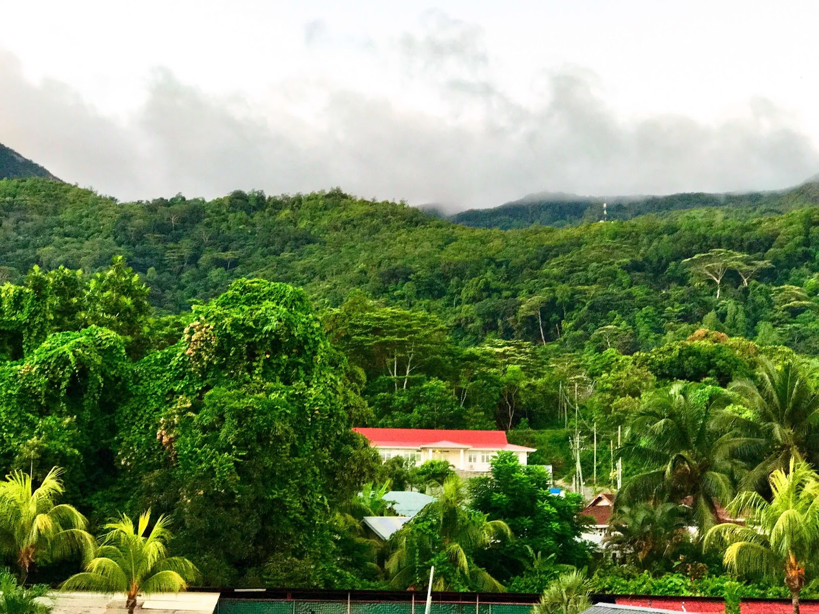 Dense Cloudy Mountain View from Beau Vallon, Seychelles