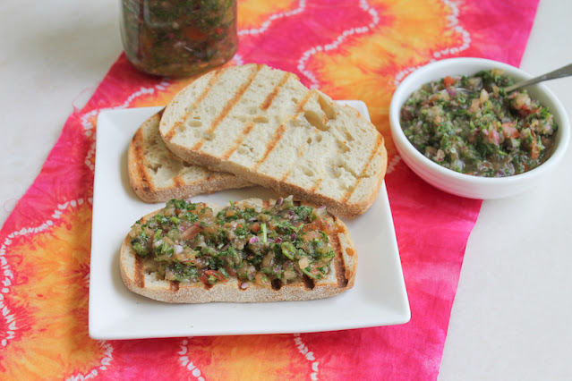 Food Lust People Love: Salsa Pebre Chileno is a traditional accompaniment to an asado or barbecue in Chile. It's made with ripe tomatoes, onion, lime juice and lots of cilantro. Add a little hot sauce for kick!