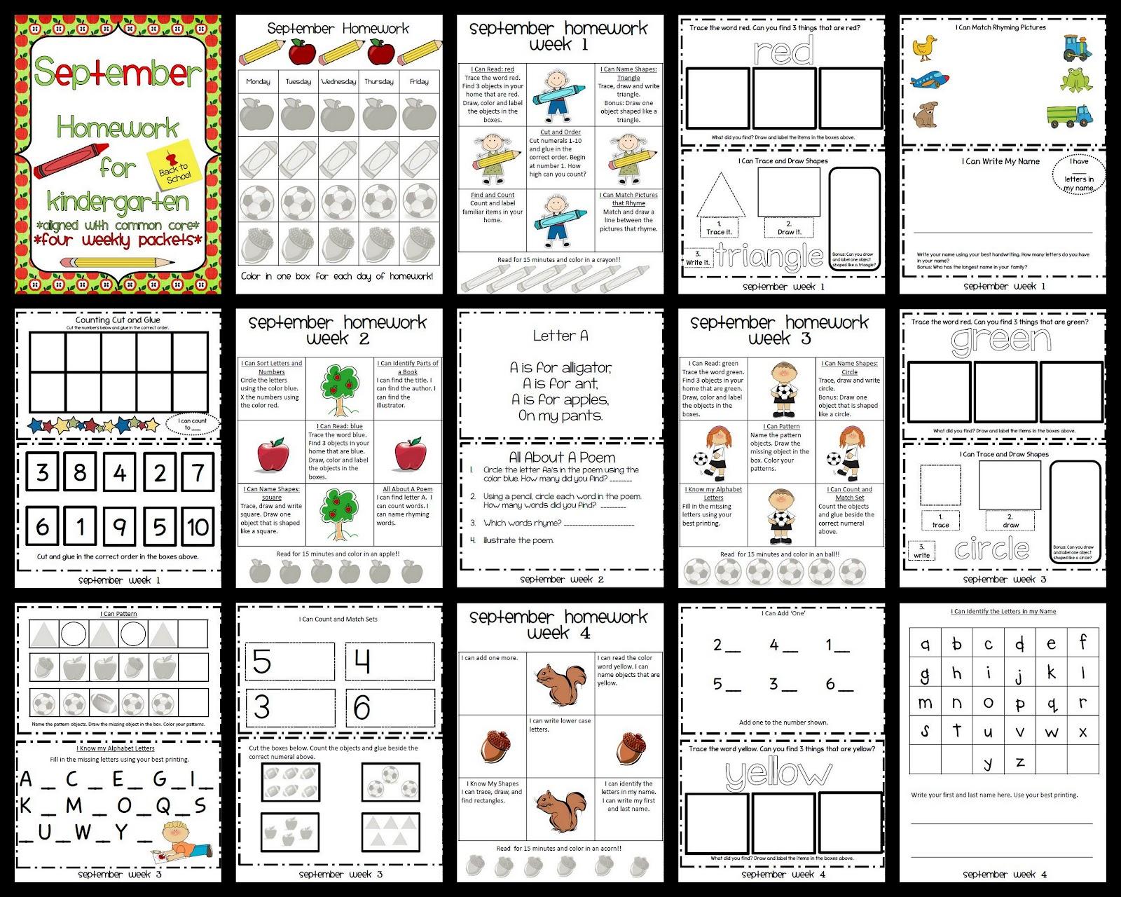September Kindergarten Homework Pack