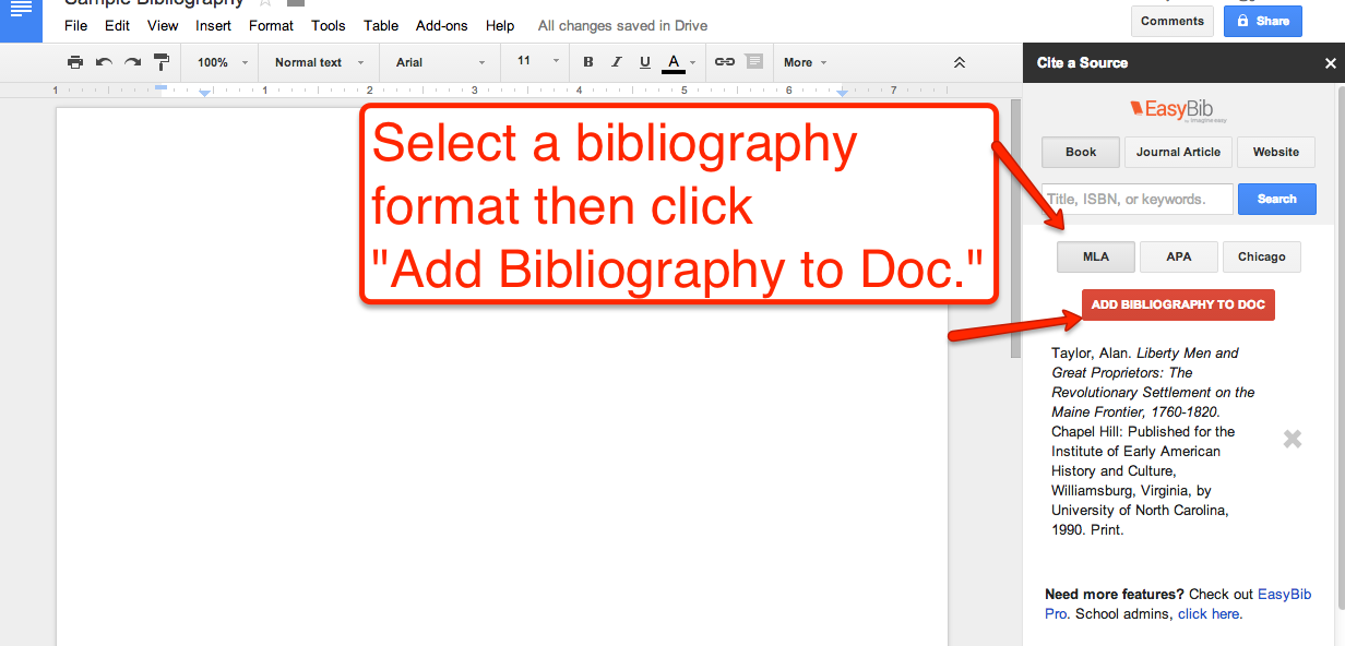 free technology for teachers how to create a bibliography in google documents. Black Bedroom Furniture Sets. Home Design Ideas