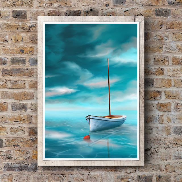 Adrift art by Mark Taylor, boat, turquoise sky