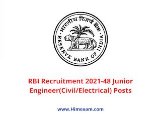 RBI Recruitment 2021-48 Junior Engineer(Civil/Electrical) Posts