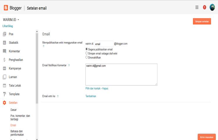 cara upload gambar di blog via email