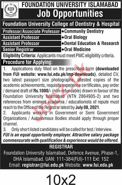Foundation University College of Dentistry & Hospital Jobs