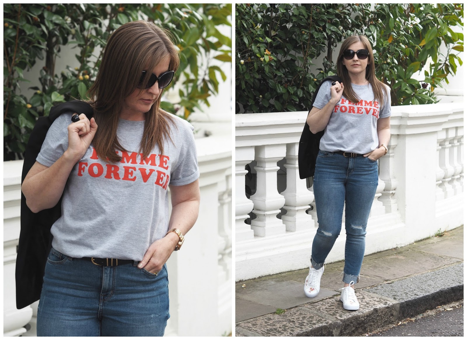 Topshop slogan t-shirt \ fashion \ style \ M&S jeans \ H&M blazer \ outfit \ ootd \ Priceless Life of Mine Over 40 lifestyle blog