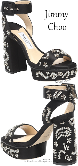 Jimmy Choo Jax bejeweled black platform block heel sandals #brilliantluxury
