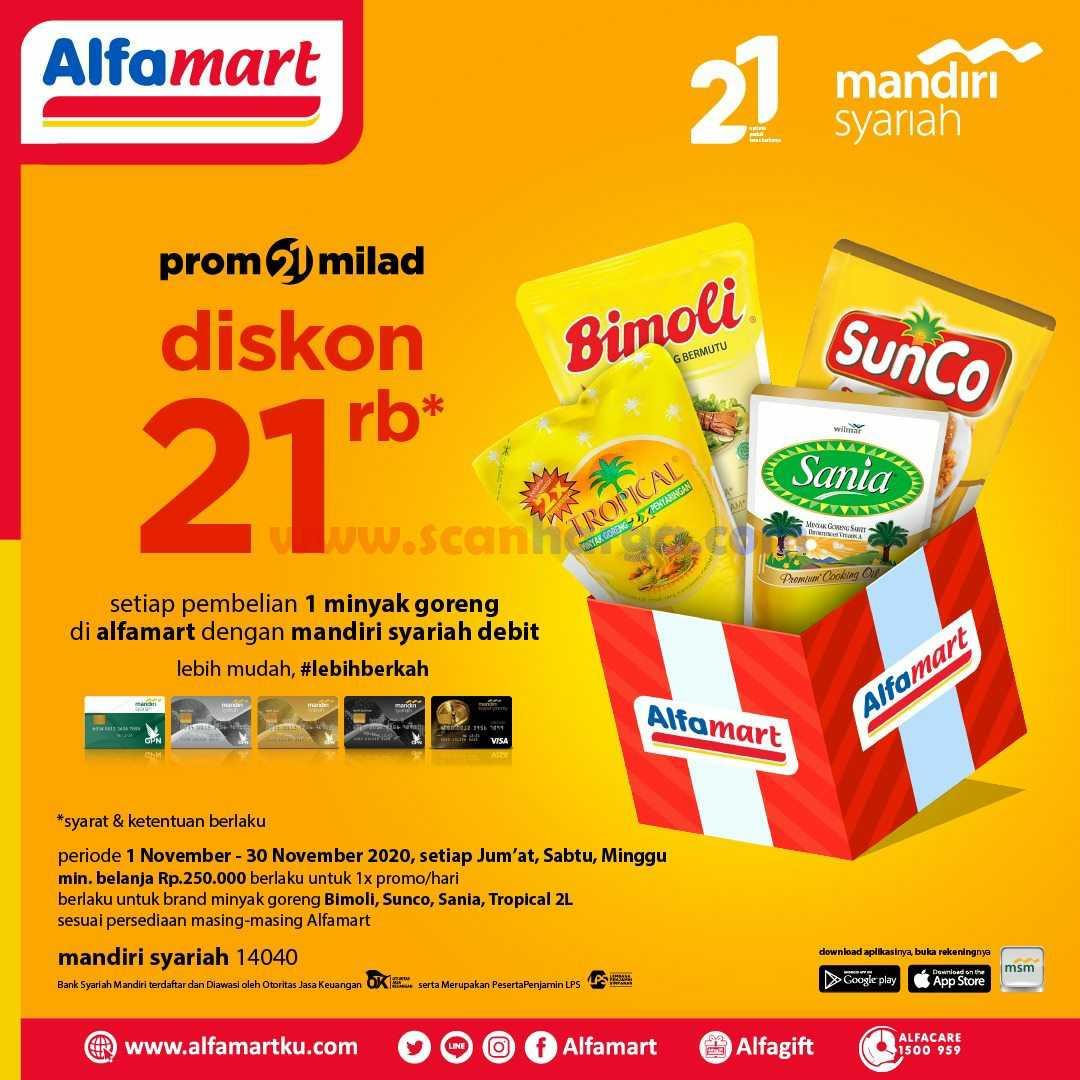 Alfamart Promo 21 Milad Diskon 21rb setiap pembelian 1 Minyak goreng Dengan Debit Mandiri Syariah