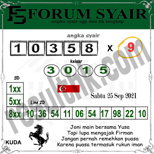 Forum Syair SGP Sabtu 25 September 2021