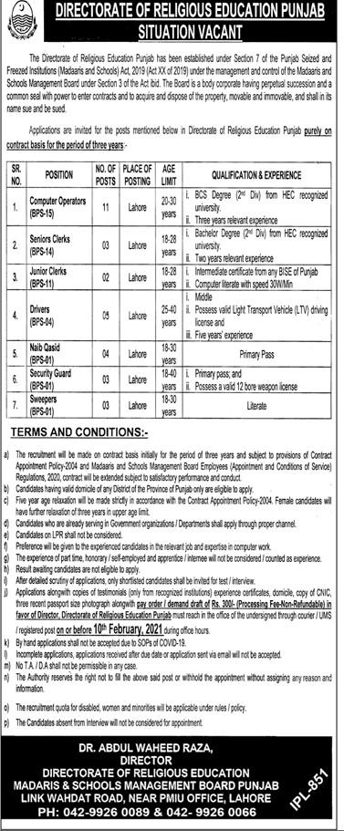 Jobs in Lahore 2021 - Jobs in Punjab 2021 - Punjab Directorate of Religious Education Jobs 2021