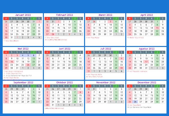 Download Template Kalender Tahun 2022 Masehi Hijriyah Jawa CDR PDF JPG